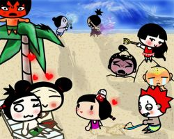 Pucca at the Beach by Deer50