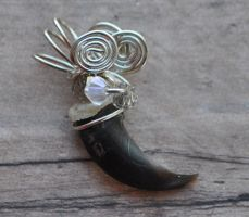 Ice Storm - Hand Wire Wrapped Coyote Claw Pendant by MorRokko