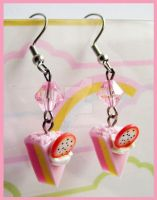 Strawberry Cake Earrings by cherryboop