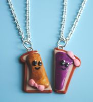 Peanut Butter Halves Necklaces by ClayConnections