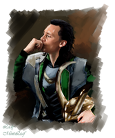 Loki  looking at Asgard by LadyMintLeaf