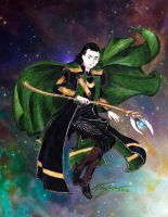 Floating Loki in Space by closetvictorian