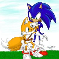 Sonic Gives Tails a Noogie by QT-Star