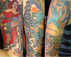 Half sleeve pin up zombie tattoo by berial48