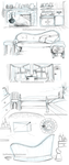 Lia's and Aron flat-furniture sketches... by RedPassion