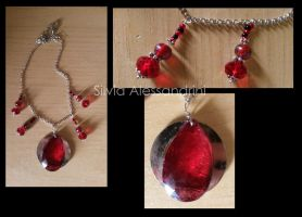 Red big stone necklace by SilvieTepes