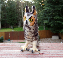 Felted Long-Eared Owl by DancingVulture