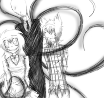 Scissor Mouth SlenderMan And Mark by DJambersky666
