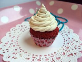 Red Velvet Cupcake Necklace by abarra01