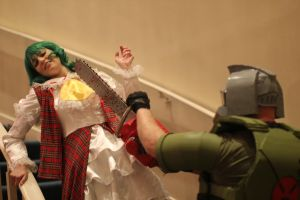 DOOM Guy vs Yuuka by Scarlet-Impaler