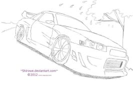 Nissan R34 GT-R CWEST Style (Sakura Tree) by Shirowe