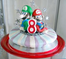 Super Mario Bros. cake by Efreet-in-the-Oven