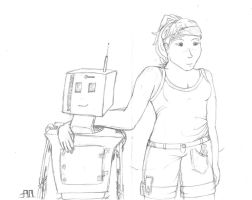 Girl And Robot by AthenaMoore
