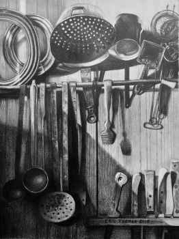 Drawing of Kitchen Utensils by EricBruceTurner