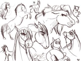 Horse Doodles by dyb