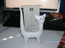 Pressed Fourleaf Clover with Cat photo holder by KatarinaTheCat