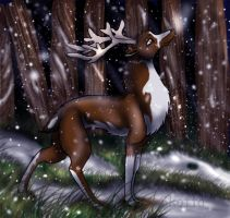 Reindeer in the snow by Skottan