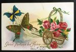 Antique Postcard - Butterflies Drawing Rose Wagon by KarRedRoses