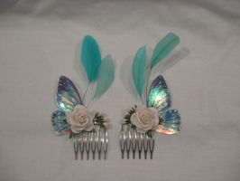 Blue fairy wing hair combs by assassin-kitty