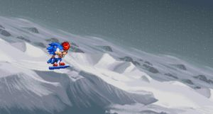 Sonic and Sally Snowboarding Together by ClassicSonicSatAm