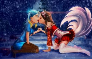 Ahri and Sona kiss by Deadguybeer