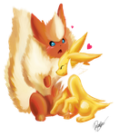 Flareon and Jolteon by allocen