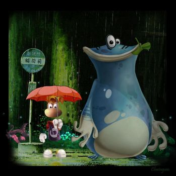 Rayman and Globox in Totoro by Chwingum