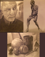 School Charcoal Drawing by Rousteinire