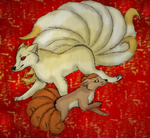 Ninetales and Vulpix by graciegra
