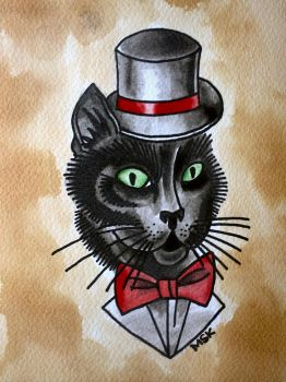 Traditional tattoo ' Gentleman Cat ' by Psychoead