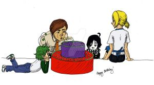 OCs and Cake .:B-day:. by Lutra-Gem