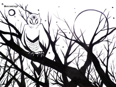 Wise owl by 0becomingX