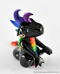 Black Rainbow Clay Dragon by HowManyDragons