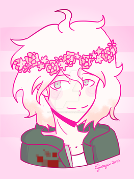 Just Nagito with a flower crown (RE-DRAW) | SDR 2 by PandicornQueen