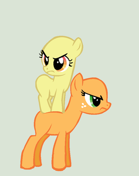 Two Angry Pony Sisters, Filly and Mare, Base by NeonPuppy33