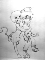 """Lia and """"non chibi"""" George by out-hell-f"""