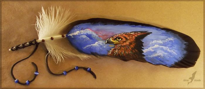 Feather painting- morning gryphon by AlviaAlcedo