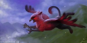 Gryphon and Fireflies by SovaeArt