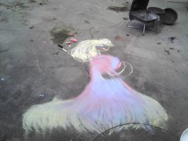 Chalk Art: me in 4th of july  dress by BlackCherry1994