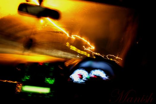 Shot Of The Lights While In The Car by VisionThroughTheLENS