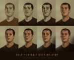 Self Portrait Steps by jeremygordonart