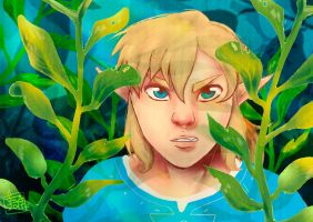 Link behind the musgo by Evangeline-chan