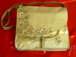 Ecru Leather Messenger Bag with Flowers by izasartshop