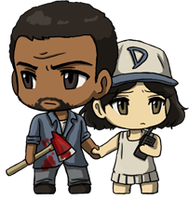 Walking Dead: Lee and Clem Chibis by SilverHyena