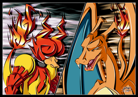 Magmar vs Charizard by R-no71