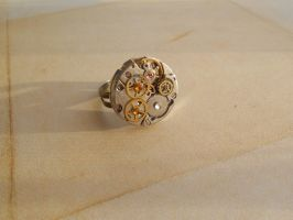Steampunk mechanical ring with small gears by SteamJo