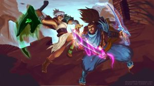Yasuo Vs. Riven - The unforgiven exiles by kitsune0978