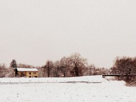 winter landscape with a house and a bridge by snusmumrikenn