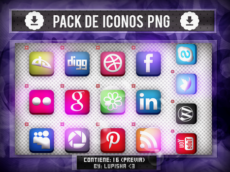 +PACK DE ICONOS WEB  PNG by LupishaGreyDesigns