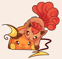 Vulpix and Raichu by SeviYummy
